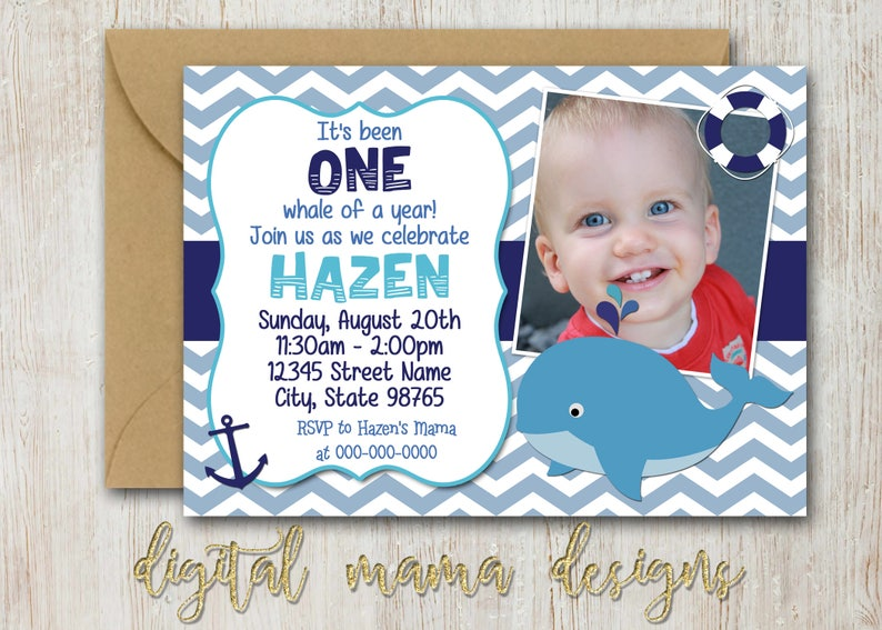 Whale Birthday Party Invitation 1 Year Old