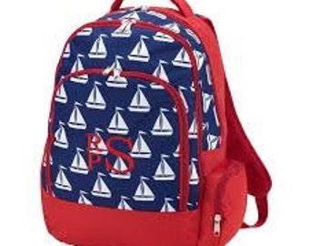 Sail Away Pink Stripe Finn Backpack Monogrammed Backpack Girls Boys Book bag