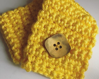 Scarf, yellow Chunky Scarf neck warmer with Large button