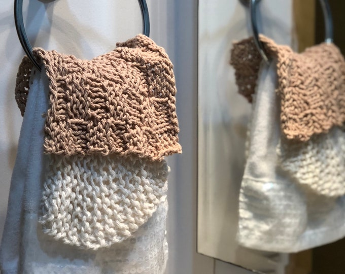 Featured listing image: Bath Set of 2 chic spa towels brown beige knitted elegant bath decor housewarming gifts Baby washcloths gift for hostess gift for Mom