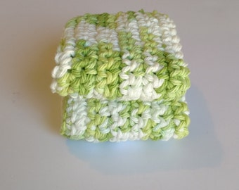 Washcloth, Sets of Spring White green crochet Handmade washcloth, Cotton Summer kitchen bath decor, housewarming gift