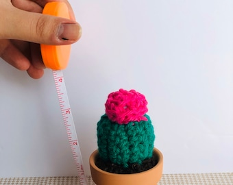 "Mini 3"" cactus, miniature crocheted cactus with round top flower, amigurumi , succulents , teachers gift, cactus with flower"