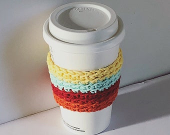 Cozy summer colors Cozy , Simple Cup Sleeve Crochet Coffee Sleeve, Reusable red orange, yellow blue Coffee Cozy, Eco friendly cup cozy