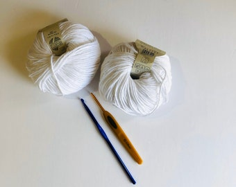 Cotton organic yarn 100% baumwolle cotton 50gm . High quality yarn for crocheting knitting, white cotton yarn