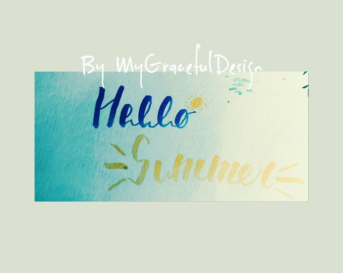 Featured listing image: Stickers, hello summer art, hand written Calligraphy art, ready to frame, greeting card, notepad, office decor, wall decor , planners