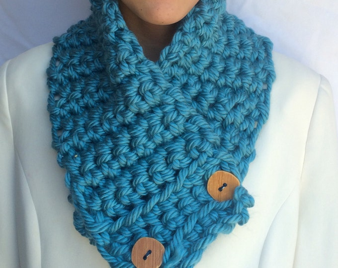Featured listing image: Outlander scarf, sassenach, Scarf Blue Chunky Scarf neck warmer with Large Buttons Ocean Teal Blue Scarf Winter Accessories