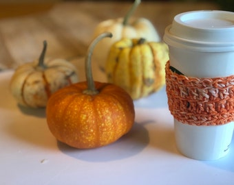Cozy, orange Cup Sleeve, Crochet Coffee Sleeve, pumpkin color, Reusable Coffee Cozy Eco friendly cup cozy