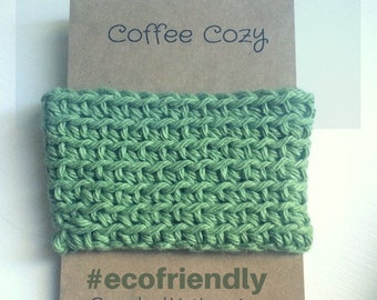 Cozy, Sage green Cup Sleeve, Reusable Cozy