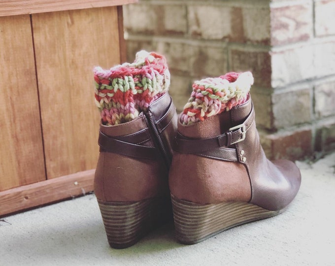 Featured listing image: Boot Cuffs, multi color boot toppers, fall colors Boot accessories, One Size Fits All Women Accessories, winter leg warmers