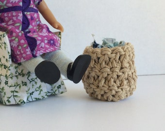 Toy miniature FREE Shipping Doll Clothes Hamper Miniature DollHouse Toy Crochet free shipping in the US