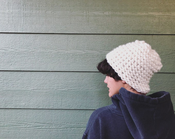 Featured listing image: DIY Pattern for Beige  Hand crocheted Beanie hat PDF downloadable file with pattern instructions