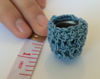 Blue Doll Clothes Hamper Miniature DollHouse Toy Crochet Free Shipping to Canada and the US