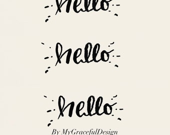 Stickers, hello art, hand written Calligraphy art, ready to frame, greeting card, notepad, office decor, wall decor , planners