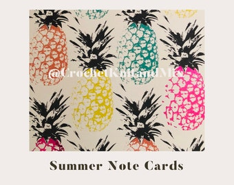 Note cards, pineapple pattern print, summer pattern art, nature fruit art, stationary