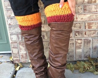 Cuffs, two color pumpkin orange and redwood Boot Toppers, One Size Fits All Women Accessories, winter leg warmers