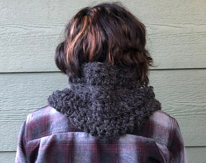 Featured listing image: Scarf, Grey scarf, outlander inspired, Crocheted accessories, scarves and wraps, cowl, shoulder cover, ready to ship