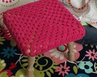 Ready to ship Hot Pink Crochet Square stool cover Kids Baby room decor Specify Size needed