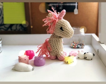 Toy, amigurumi unicorn with bow tie, FREE Shipping, pink and grey unicorn Doll, Miniature DollHouse Toy, Crocheted toy