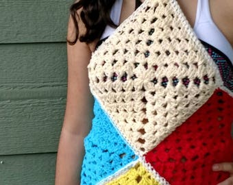 Halter top blue red and beige beach bikini cover one size fits most spaguett strap beach summer inspired crop top gift for teens  bikini top