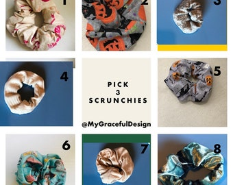 Scrunchies , set of 3  scrunchies, stocking stuffers, Christmas gift ideas , hair Ties, workout hair, yoga hair, hair fashion