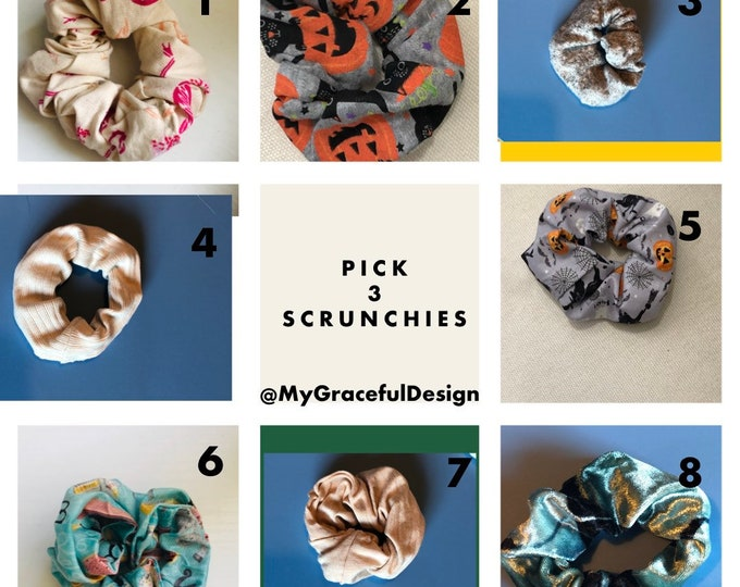 Featured listing image: Scrunchies , set of 3 Solid color scrunchies, stocking stuffers, Christmas gift ideas , hair Ties, workout, hair fashion