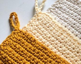 Set of 3 Trivet, mustard yellow beige and off white chic Pot Holders, modern crochet washcloth, housewarming gift kitchen