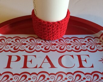 Red Christmas Holiday Gift Cup Cozy Includes gift wrapping option bag and gift tag, Great Stocking Stuffer