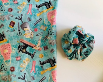 Crafter scrunchie, Limited Edition sewing scrunchy , makers gift,  hair ties,  pony tail holder, bun hair, stocking stuffers