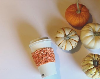 Pumpkin spice season, orange Cup Sleeve, Crochet Coffee Sleeve, pumpkin spice cozy, Reusable Coffee Cozy, Eco friendly cup cozy