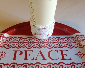White Christmas Holiday Gift Cup Cozy Includes gift wrapping option bag and gift tag, Great Stocking Stuffer