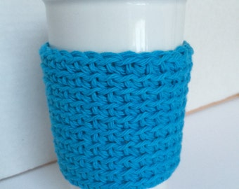 Cozy Retro Blue Cup Cozy Simple Cup Sleeve Crochet Coffee Sleeve Reusable Coffee Cozy Eco friendly cup cozy