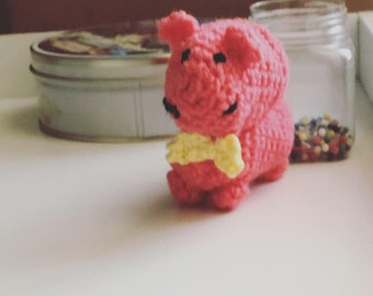 Toy, amigurumi hippo with bow tie, FREE Shipping, coral hippo with yellow bow tie, hippo Doll, Miniature DollHouse plush Toy, Crocheted toy