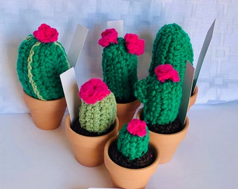 Mini cactus, set of 6 miniature crocheted cactus set, mini cacti, amigurumi , cactus toy, succulent, nature lover gift , teachers gift