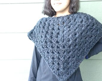 Grey wrap, outlander inspired Crocheted accessories, scarves and wraps, poncho, ready to ship