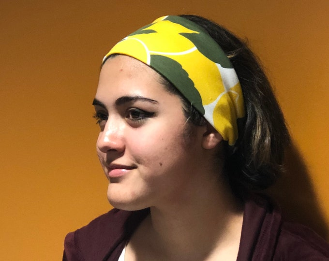 Featured listing image: Headband, lemons print headbands , hair style, green and yellow headband, workout head cover