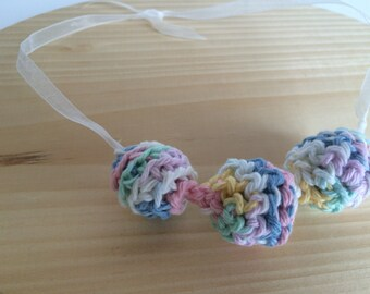 Teething Necklace Multicolor Nursing Breastfeeding Teething Necklace Crochet Wood Beads Jewelry