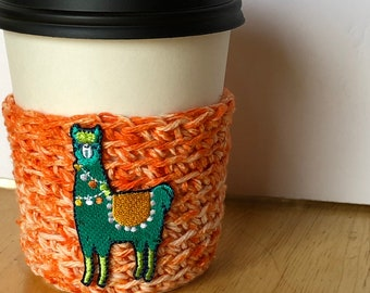 Cozy, llama cup cozy, Lama inspired,  home decor, kitchen and home gifts, knitter gift, crocheter gift, coffee lover gift, crocheted cozy