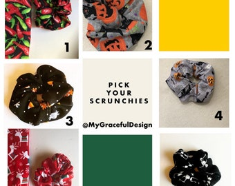 Scrunchies , set of Halloween and holiday  scrunchies, stocking stuffers, Christmas gift ideas , hair Ties, workout, hair fashion