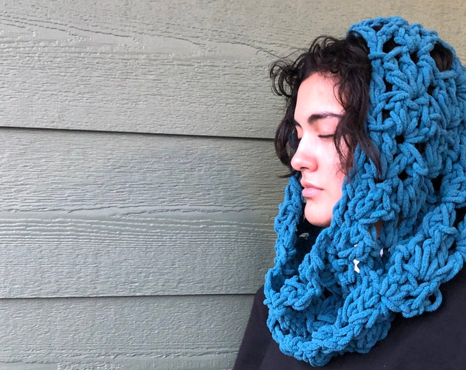 Featured listing image: Dark blue  scarf, outlander inspired Crocheted accessories, scarves and wraps, cowl, head cover, ready to ship