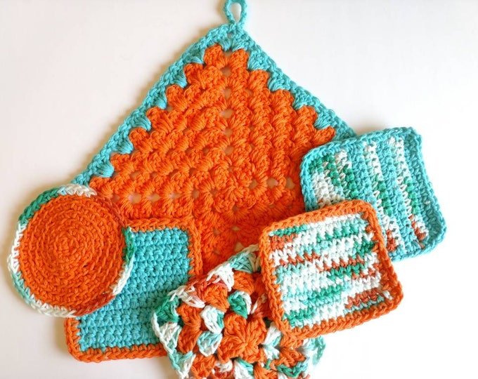 Featured listing image: Trivet and coasters orange blue retro 70s inspired Pot Holder crochet seventies housewarming gift kitchen dining decor home and living