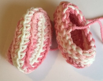 Baby booties pink and white crib shoes newborn baby boots FREE SHIPPING