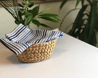 Basket Cover, summer colors striped napkin, Table Runner , Coastal Decor , Large Cotton Napkins Table center with Crochet Border