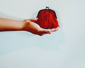 Purse, Coin purse, red change purse, crochet purse, chic accessories, chic Crocheted purse