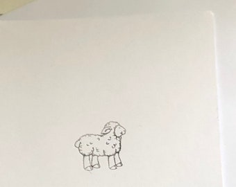 Lamb art, Sheep card, blank cards, All Occasion Blank Greeting Cards with Envelope, note cards