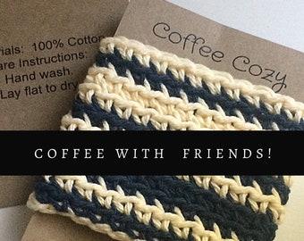 Indigo Blue and Cream Cup Cozy, coffee mug Sleeve, Reusable crochet Cozy, Eco friendly gifts