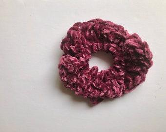 Velvet scrunchies, burgundy velvet scrunchie, hair ties, gift for her, hair fashion, crocheted velvet scrunchies, red wine hair ties