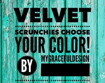 Velvet scrunchies, crocheted velvet scrunchie, hair ties, gift for her, hair fashion, elegant velvet scrunchies