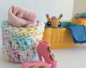 DollHouse Laundry basket crochet laundry hamper Multicolor Free Shipping to Canada and the US