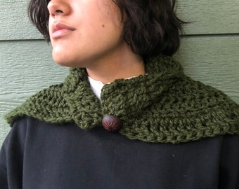 Dark green  scarf, outlander inspired Crocheted accessories, scarves and wraps, cowl, shoulder cover, ready to ship