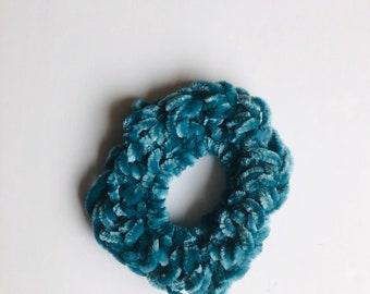 Velvet scrunchies, velvet teal scrunchie, hair ties, gift for her, hair fashion, crocheted velvet scrunchies, teal hair ties